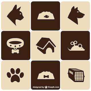 Retro style pet icons set