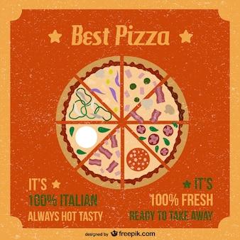 Retro style pizza vector