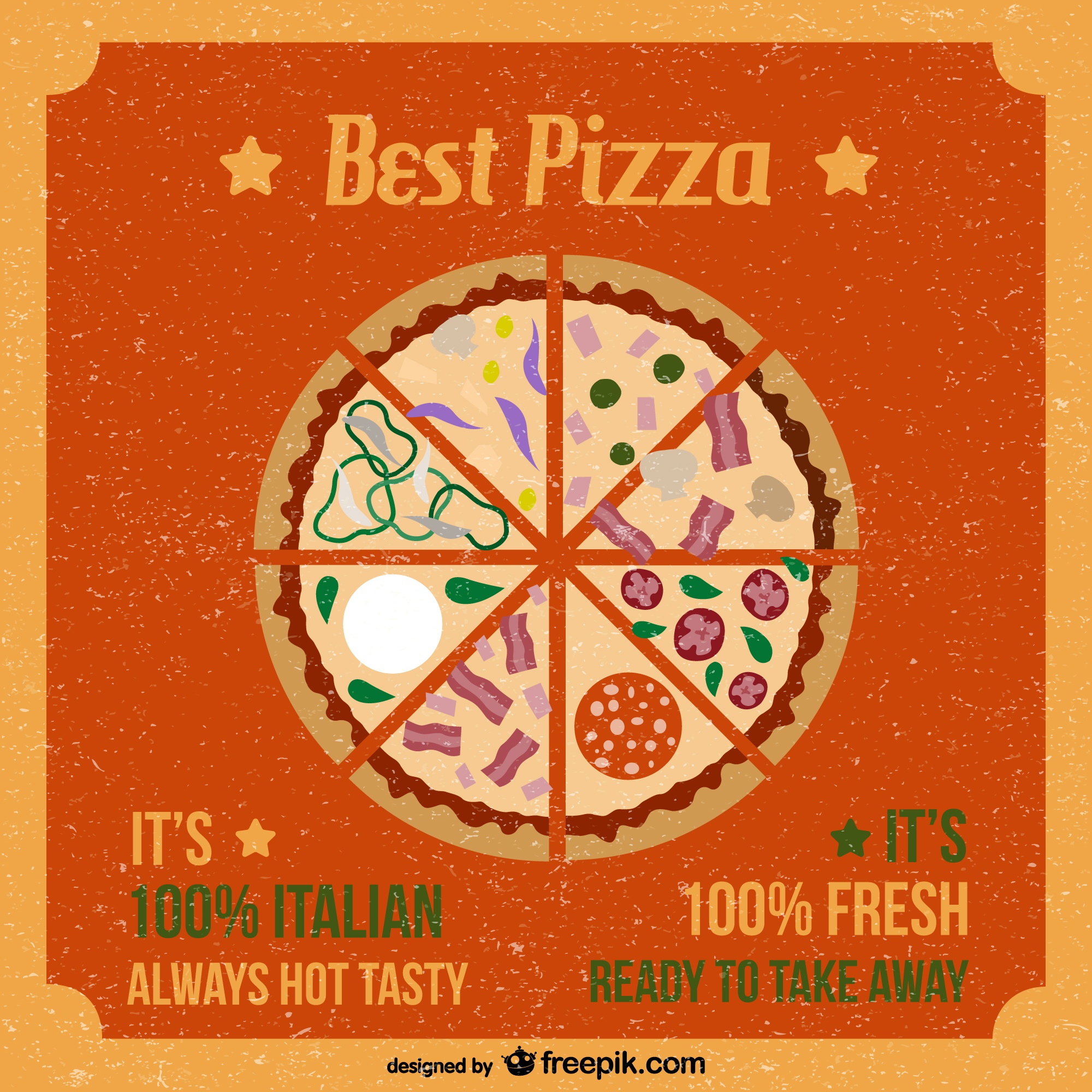 Retro style pizza vector