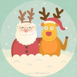 Retro style Santa and reindeer cartoon