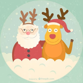 Retro style Santa and reindeer cartoon