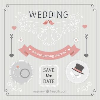 Retro style wedding invitation