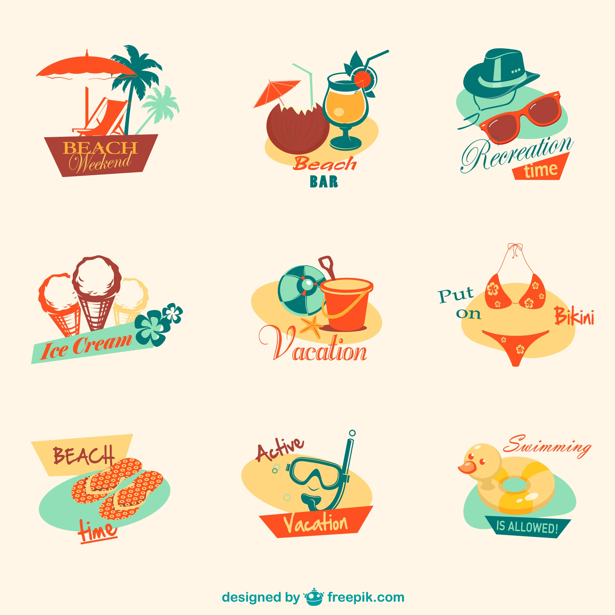 Retro summer beach graphics