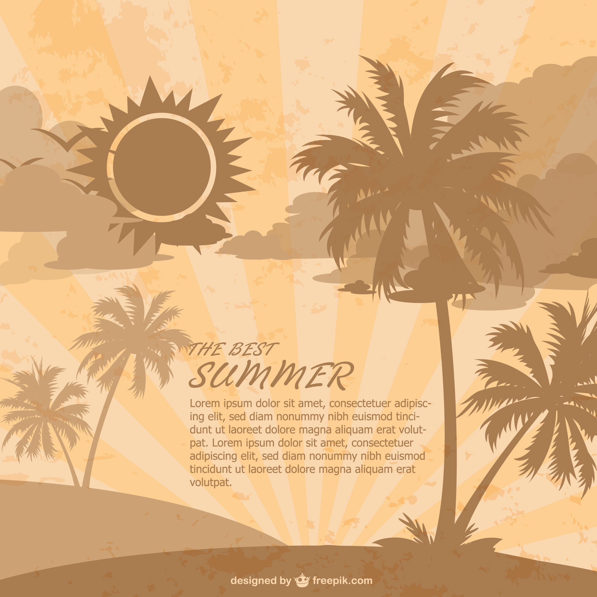 Retro summer beach vector template