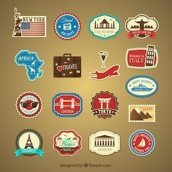 Retro vacation travel labels
