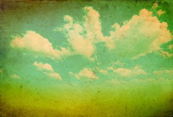 Retro view of sky with clouds