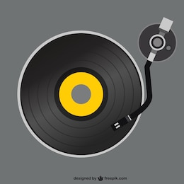 Retro vinyl record player vector