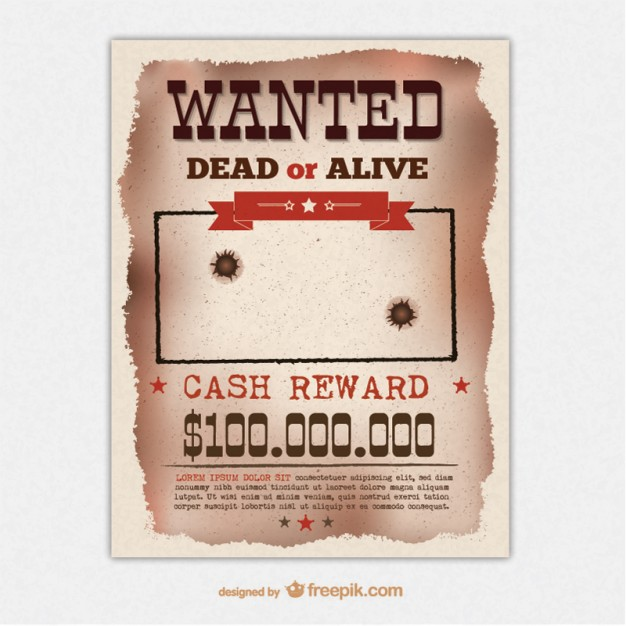 Retro wanted poster template