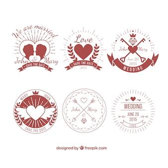 retro wedding badges