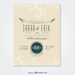 Retro wedding card swirl design