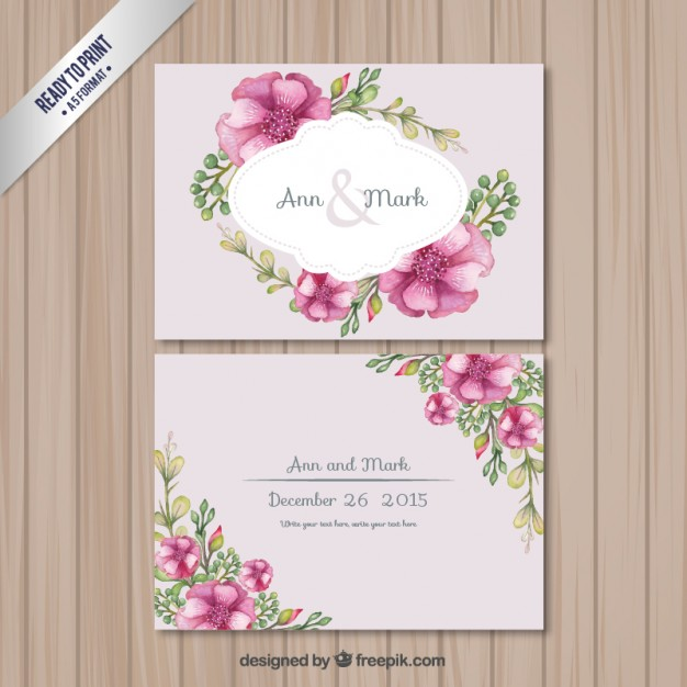 Retro wedding card with flowers