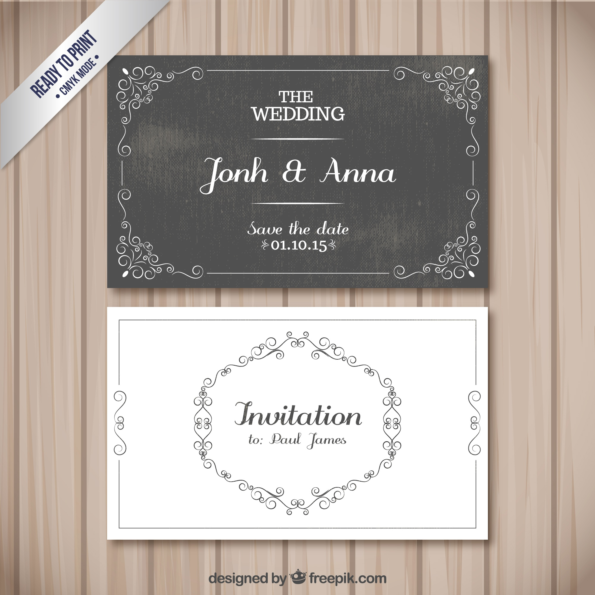 Retro wedding cards