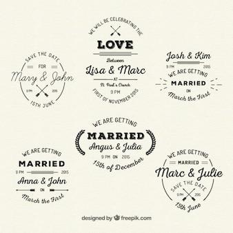 Retro wedding insignias