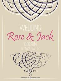 Retro wedding invitation swirl retro design
