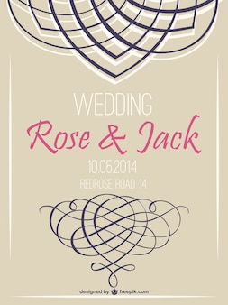 Retro wedding invitation swirl retro design