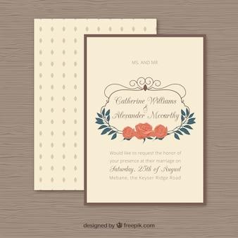 Retro wedding invitation with flowers