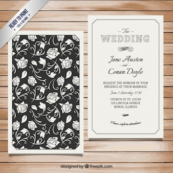 Retro wedding invitation with roses