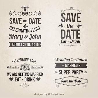 Retro wedding invitations in lettering style