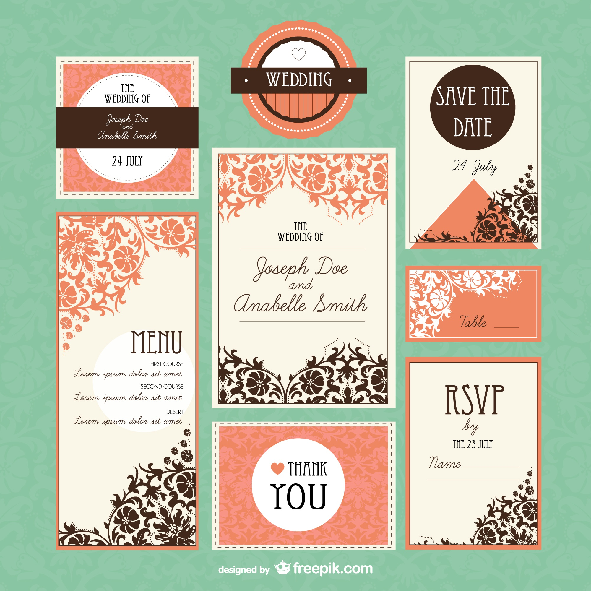 Retro wedding mock-up set