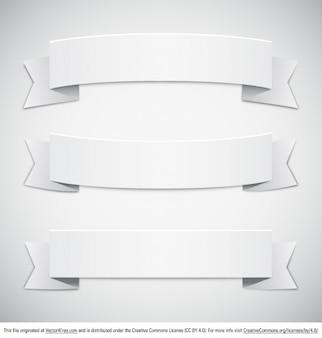 Retro white paper banners