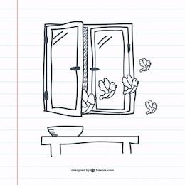 Retro window doodle graphics