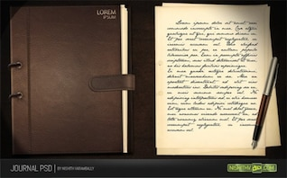 rich leather journal & note paper set psd