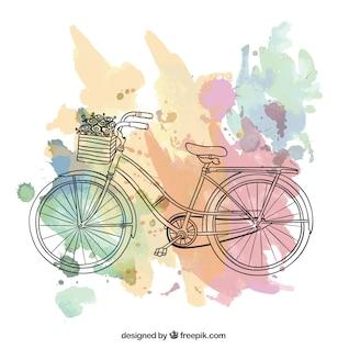 Riding a bike, Vintage postcard