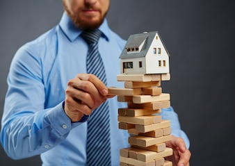 Risk businesspeople uncertainty housing adult