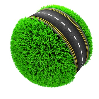 Road around a sphere of grass