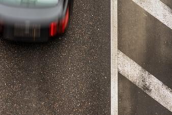 モーションカー、トップビューと道路