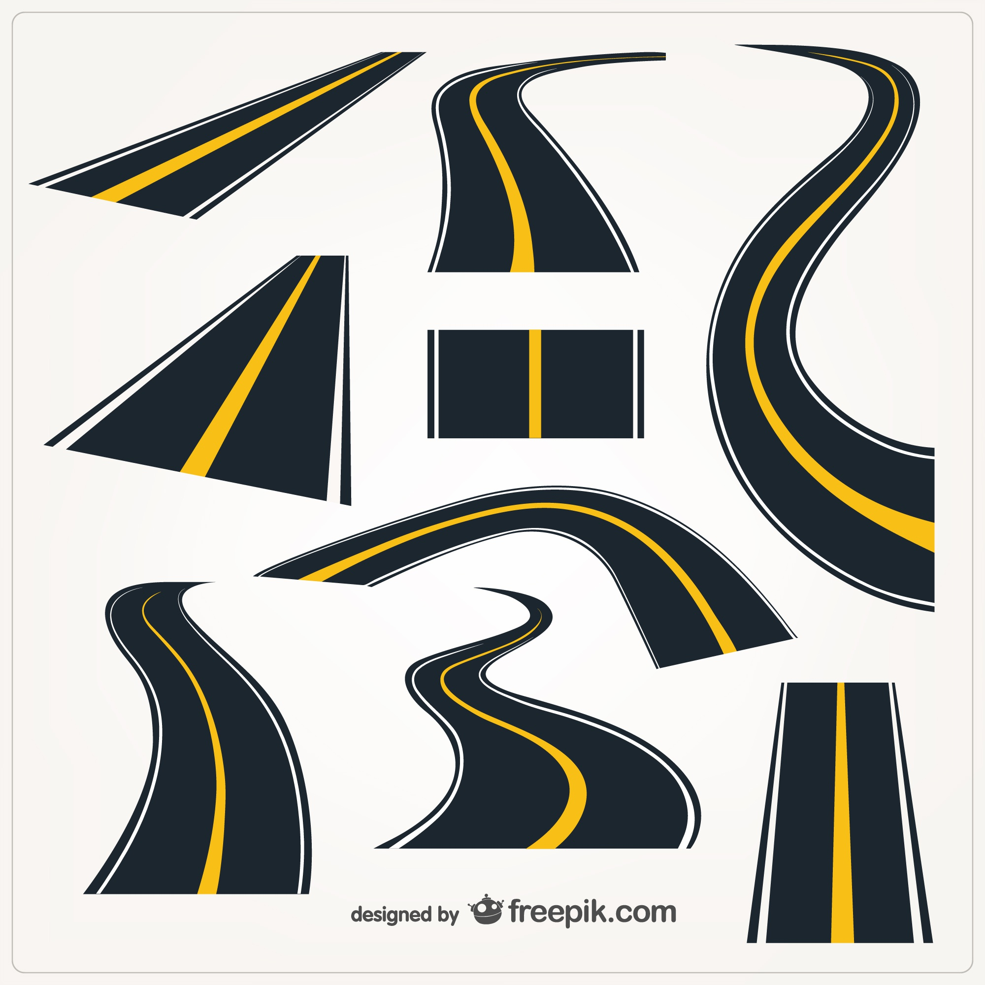 Roads graphic vector elements