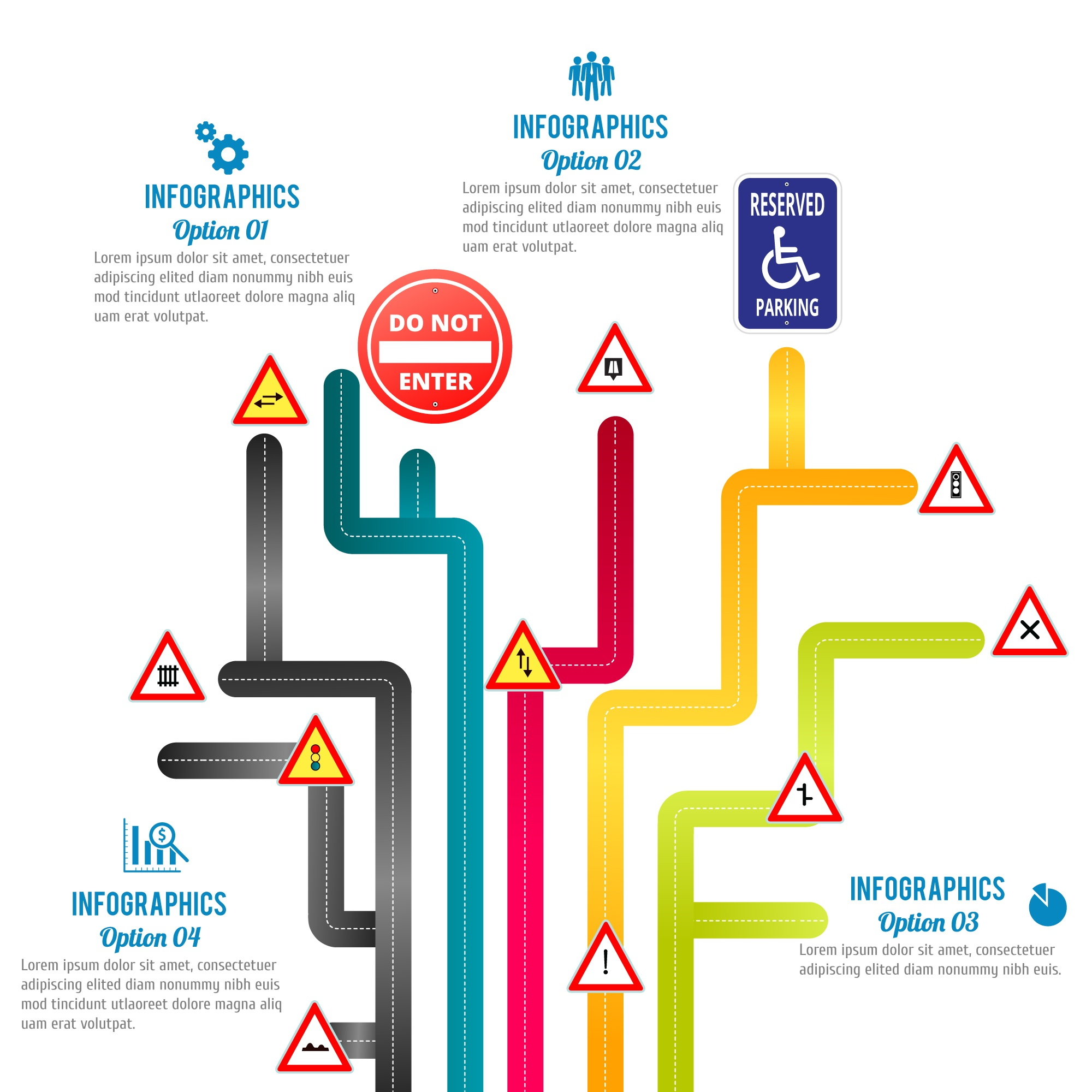 Roads vector free infographic