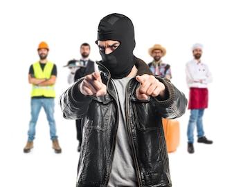Robber pointing to the front