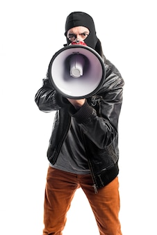 Robber shouting by megaphone