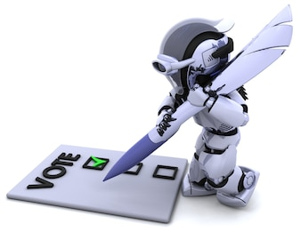 Robot giving his vote