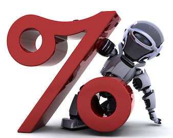 Robot with a percentage symbol