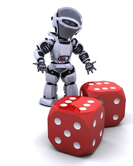 Robot with casino dice