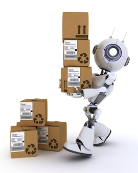 Robot with several shipping boxes
