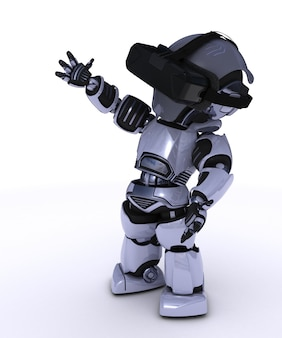 Robot with virtual reality glasses