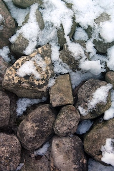 Rock wall with snow
