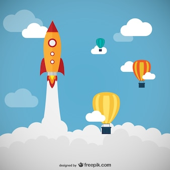 Rocket and balloons vector