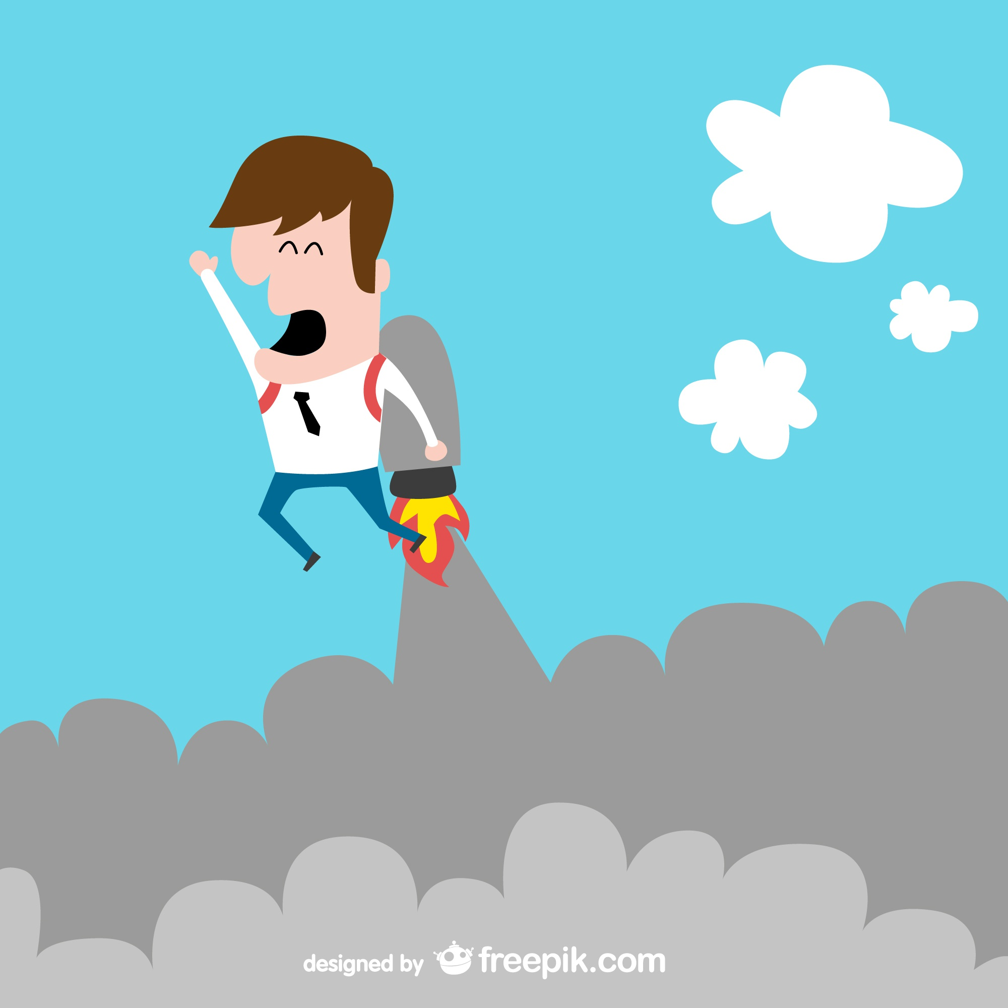 Rocket businessman funny vector