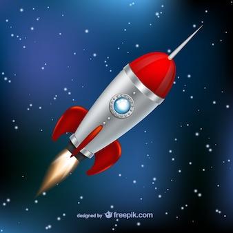 Rocket flying through space