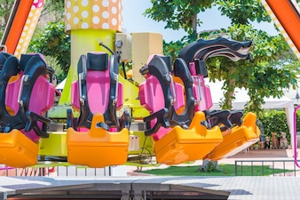Roller coaster seats at amusement park