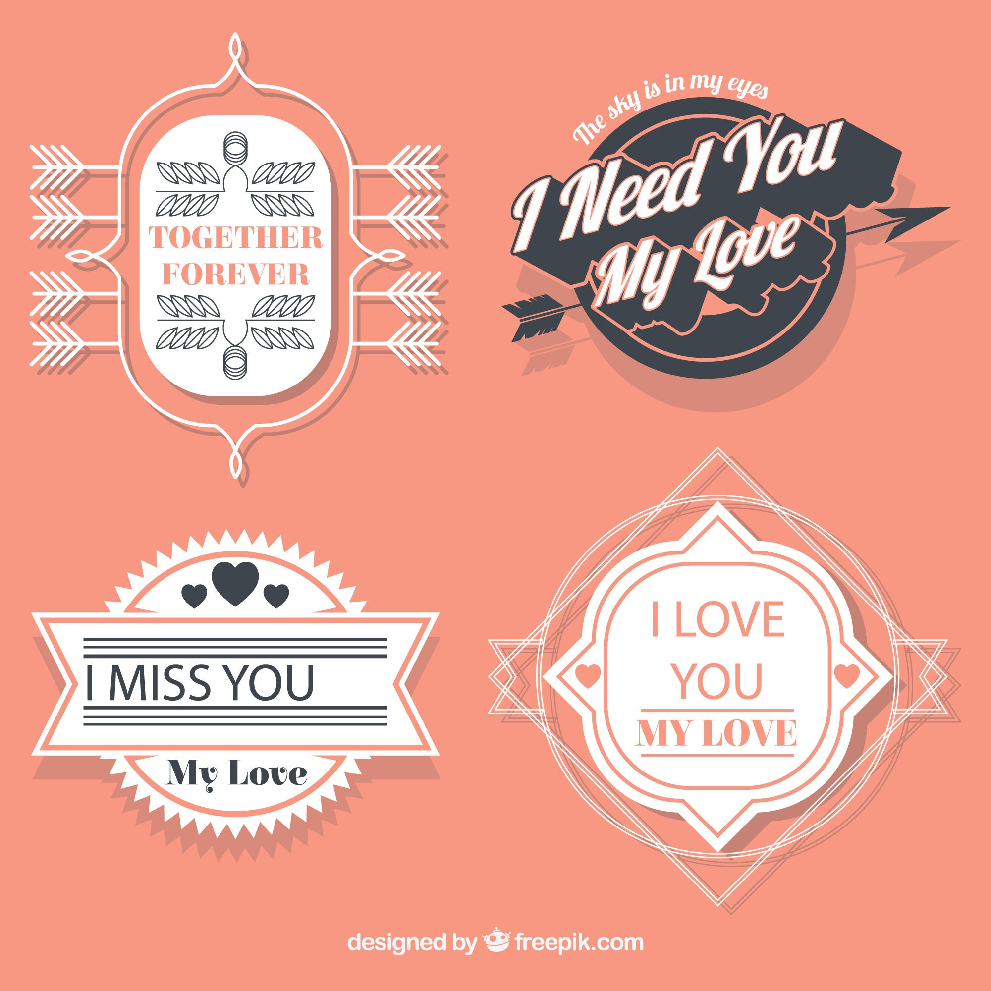 Romantic badges collection