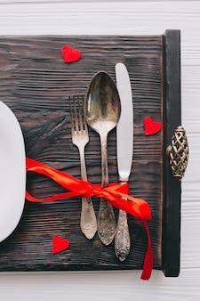 Romantic breakfast on tray