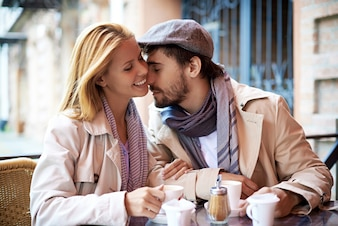 Romantic couple in a coffee shop