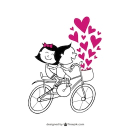Romantic couple on bike