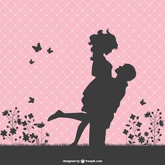 Romantic couple silhouettes