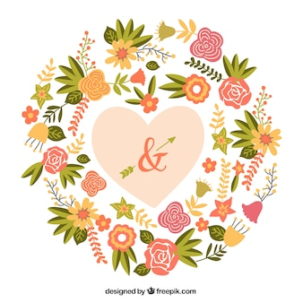 Romantic heart with flowers